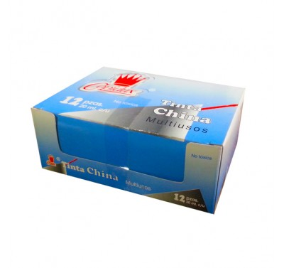 Tinta china Copidux azul con 12 piezas 15 ml.